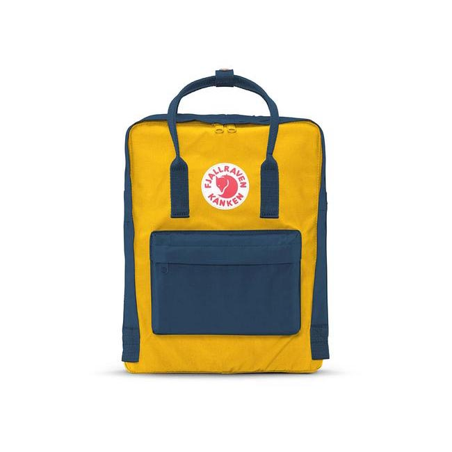 Bags Fjallraven KÅNKEN BACKPACK NAVY-WARM YELLOW Outlet Online