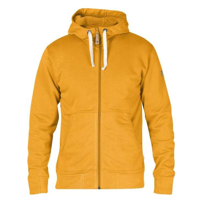 Men Fjallraven ÖVIK MEN\'S HOODIE CAMPFIRE YELLOW Outlet Online