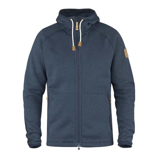 Men Fjallraven OVIK FLEECE HOODIE NAVY Outlet Online