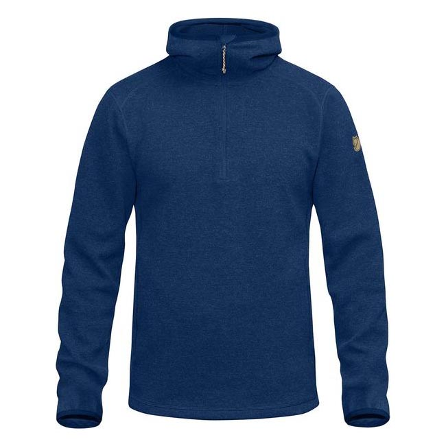 Men Fjallraven HIGH COAST WOOL HOODIE ESTATE BLUE Outlet Online