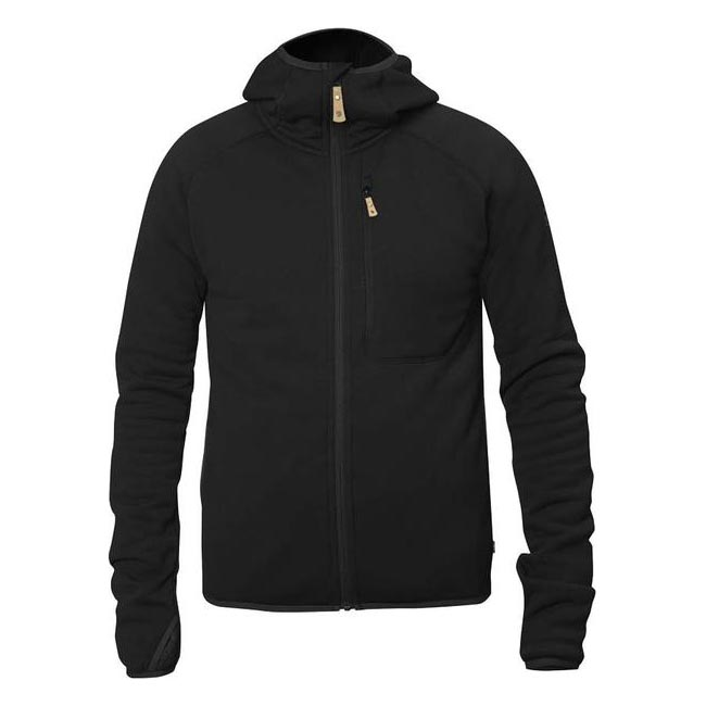 Men Fjallraven ABISKO FLEECE HOODIE BLACK Outlet Online
