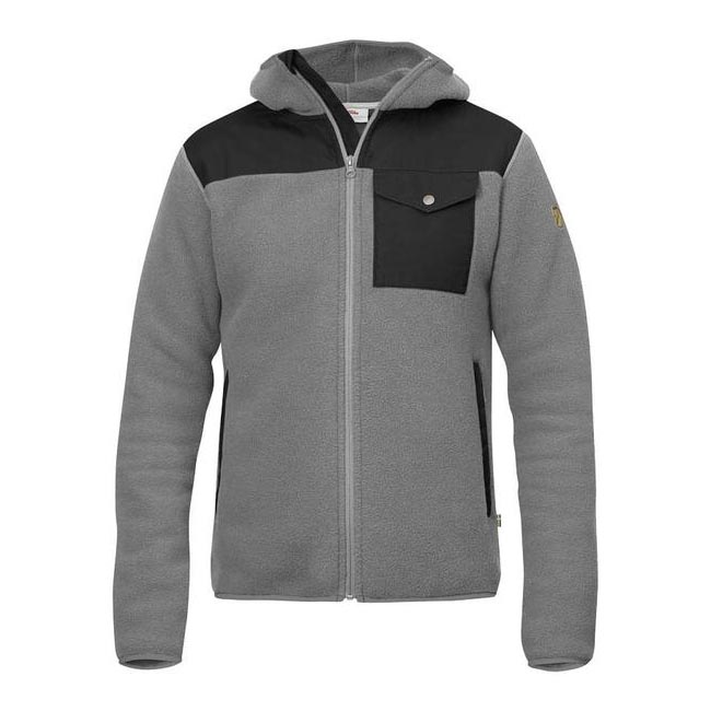 Men Fjallraven SINGI FLEECE HOODIE GREY Outlet Online