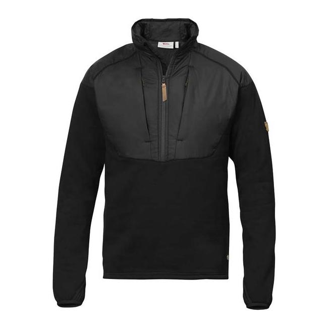 Men Fjallraven KEB HYBRID HALF ZIP BLACK Outlet Online