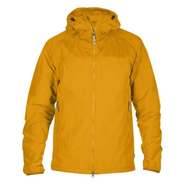 Men Fjallraven ABISKO HYBRID MEN\'S JACKET CAMPFIRE YELLOW Outlet Online