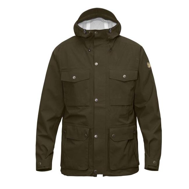 Men Fjallraven ÖVIK ECO-SHELL JACKET DARK OLIVE Outlet Online