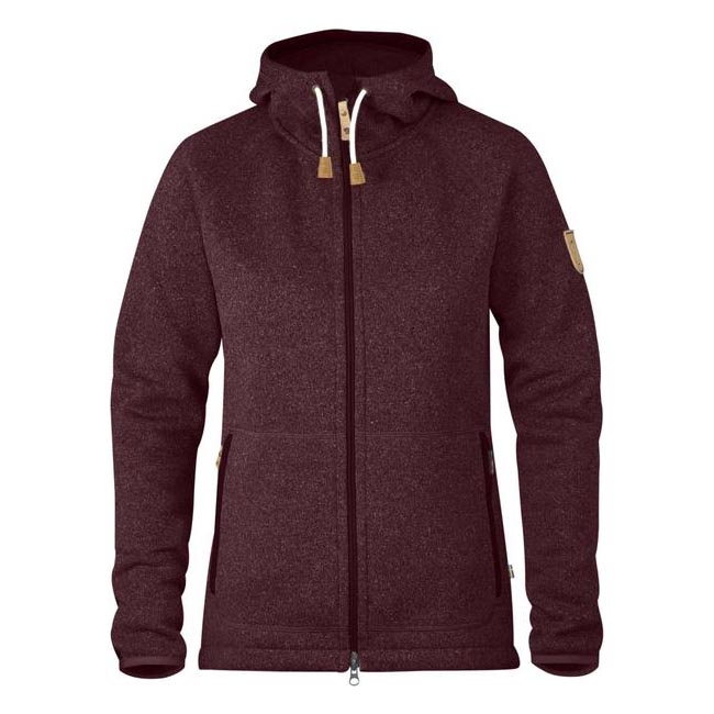 Women Fjallraven OVIK FLEECE HOODIE W DARK GARNET  Outlet Online