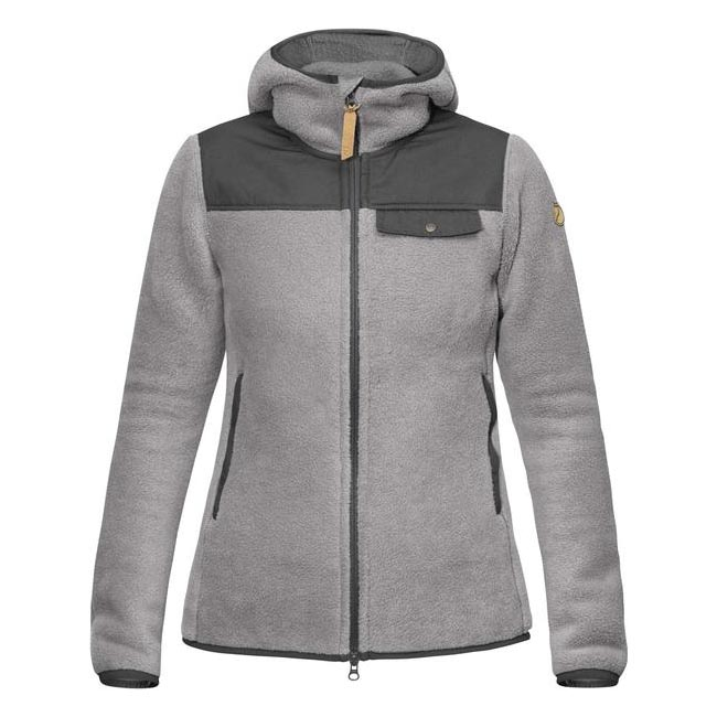 Women Fjallraven SINGI FLEECE HOODIE W GREY Outlet Online