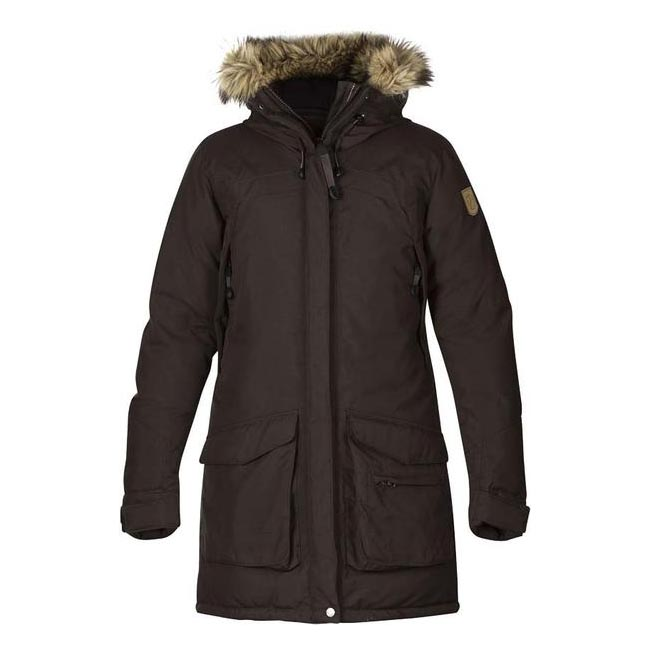Women Fjallraven KYLA DOWN PARKA BLACK BROWN Outlet Online