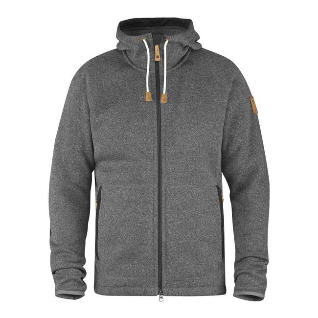 Men Fjallraven OVIK FLEECE HOODIE DARK GREY Outlet Online