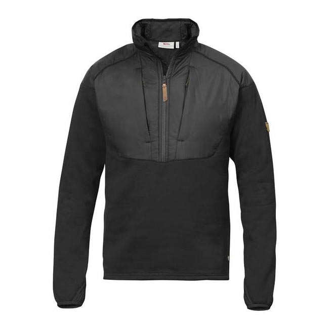 Men Fjallraven KEB HYBRID HALF ZIP DARK GREY Outlet Online