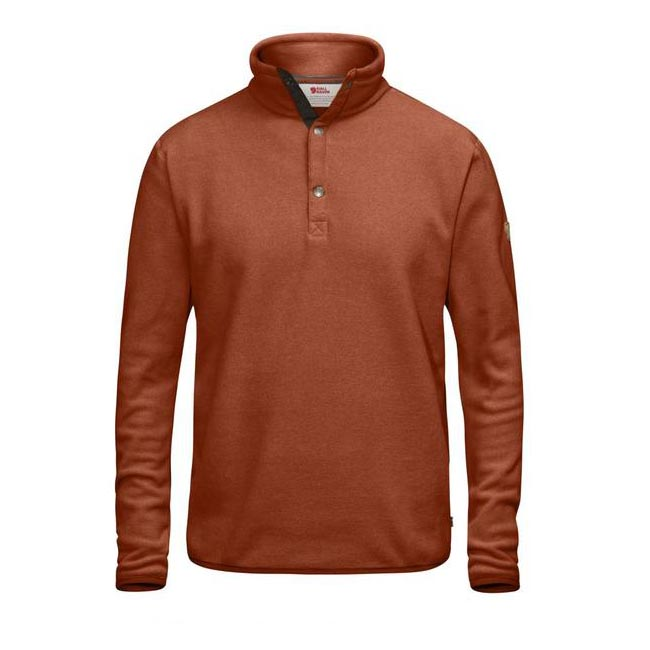 Men Fjallraven ÖVIK FLEECE SWEATER AUTUMN LEAF Outlet Online