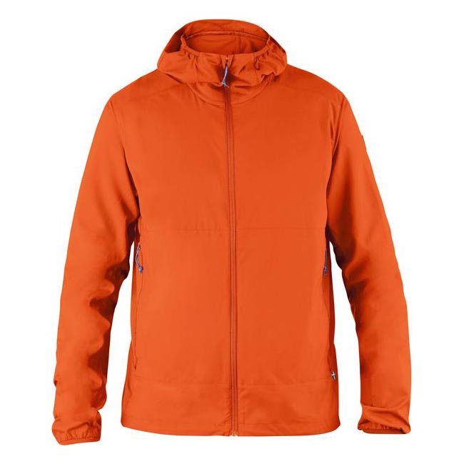 Men Fjallraven ABISKO HYBRID WINDBREAKER FLAME ORANGE Outlet Online