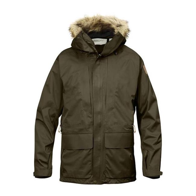 Men Fjallraven KEB ECO-SHELL PARKA DARK OLIVE Outlet Online
