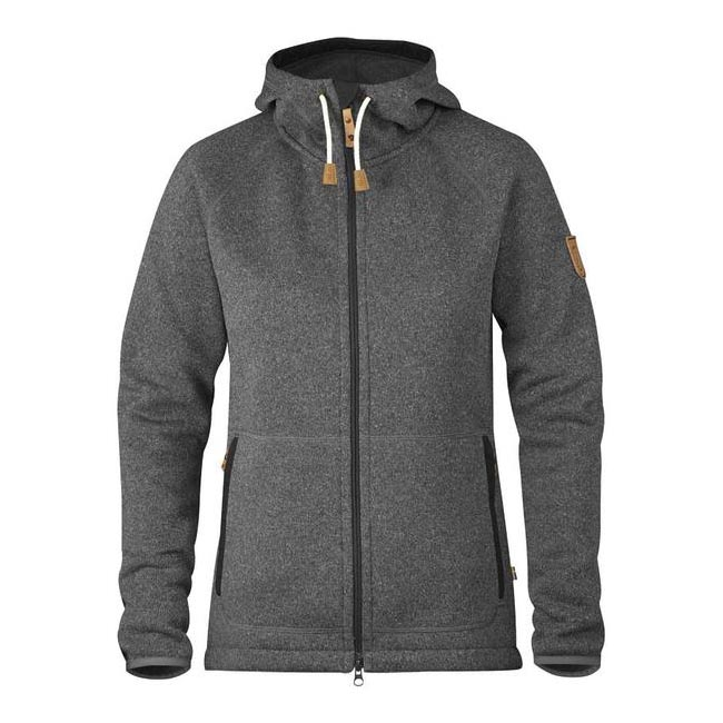 Women Fjallraven OVIK FLEECE HOODIE W DARK GREY  Factory Outlet