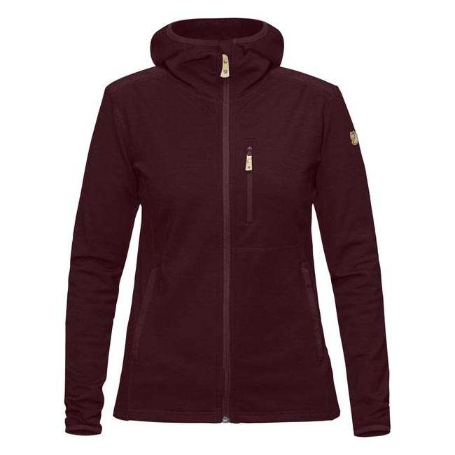 Women Fjallraven KEB FLEECE HOODIE W DARK GARNET Outlet Online